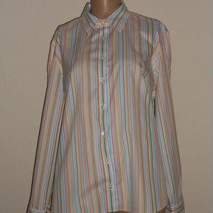 Lands End Shirt 18P White Multi Stripe L/Sleeves
